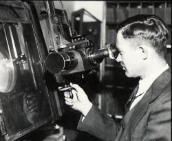 Clyde Tombaugh using a Zeiss blink comparator