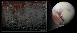 Pluto's Methane Snowcaps on the Edge of Darkness (context)