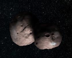 A Kuiper Belt Pair? Artist's Concept of 2014 MU69 as a Binary Object
