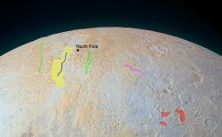 The Frozen Canyons of Pluto's North Pole (Annotated)