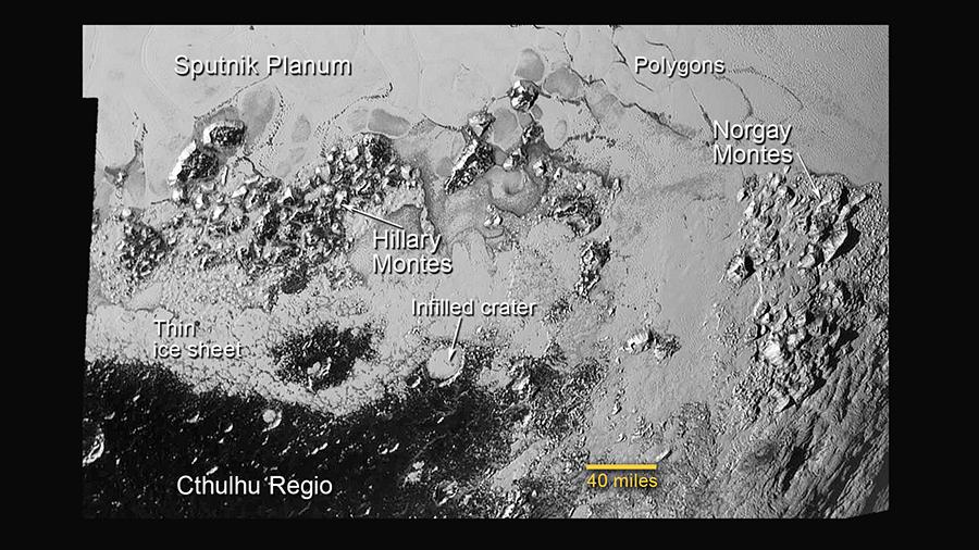 Pluton pinnanmuotojen nimiä