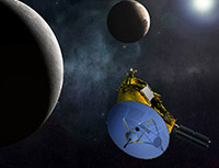 Artist rendering of New Horizons passing Pluto